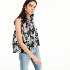 J. Crew Tropical Drapey Blouse With Tassels